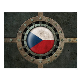 Industrial Steel Czech Republic Flag Disc Graphic Postcard