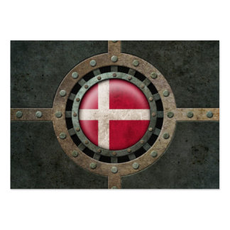 Industrial Steel Danish Flag Disc Graphic Business Card Template