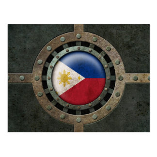 Industrial Steel Filipino Flag Disc Graphic Postcard