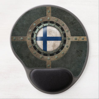 Industrial Steel Finnish Flag Disc Graphic Gel Mouse Pad