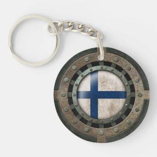 Industrial Steel Finnish Flag Disc Graphic Keychain