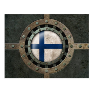 Industrial Steel Finnish Flag Disc Graphic Postcard