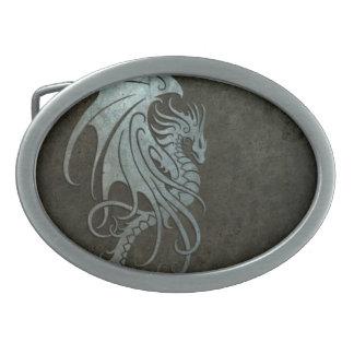 Industrial Steel Flying Dragon - left side Oval Belt Buckle