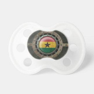 Industrial Steel Ghana Flag Disc Graphic Baby Pacifier