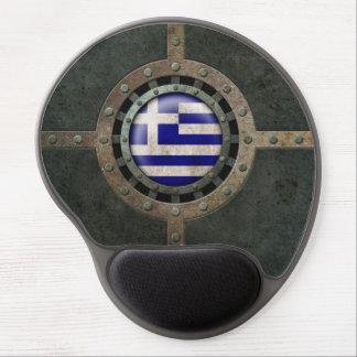 Industrial Steel Greek Flag Disc Graphic Gel Mouse Pad
