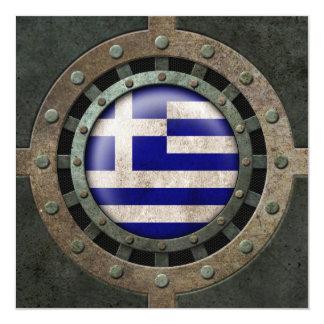 Industrial Steel Greek Flag Disc Graphic Custom Invites