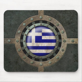 Industrial Steel Greek Flag Disc Graphic Mouse Pad