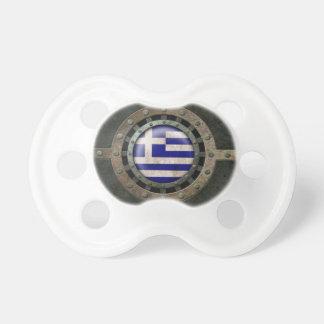 Industrial Steel Greek Flag Disc Graphic Baby Pacifiers