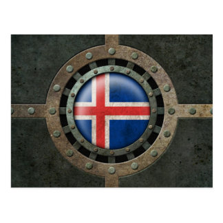 Industrial Steel Icelandic Flag Disc Graphic Postcard