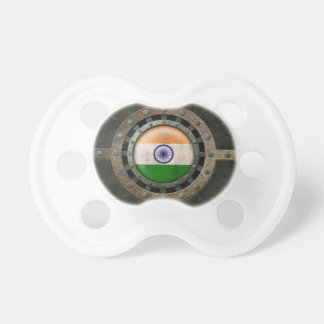 Industrial Steel Indian Flag Disc Graphic Baby Pacifier