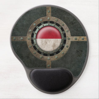 Industrial Steel Indonesian Flag Disc Graphic Gel Mouse Pad