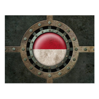 Industrial Steel Indonesian Flag Disc Graphic Postcard
