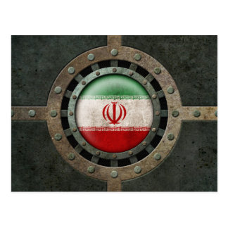 Industrial Steel Iranian Flag Disc Graphic Postcard