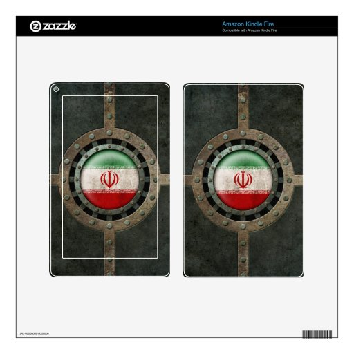 Industrial Steel Iranian Flag Disc Graphic Kindle Fire Decal