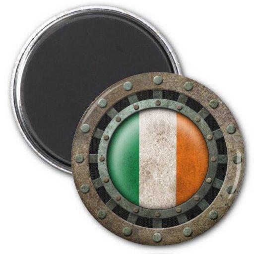 Industrial Steel Irish Flag Disc Graphic Fridge Magnet