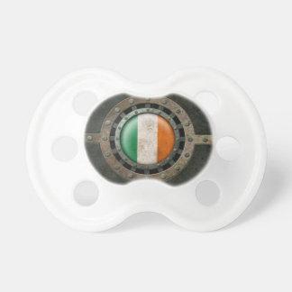 Industrial Steel Irish Flag Disc Graphic Pacifier