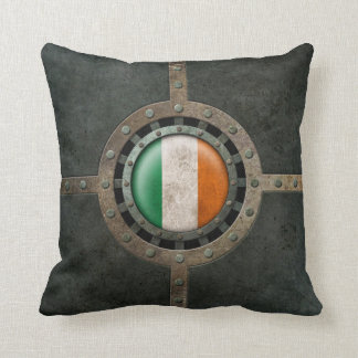 Industrial Steel Irish Flag Disc Graphic Throw Pillow