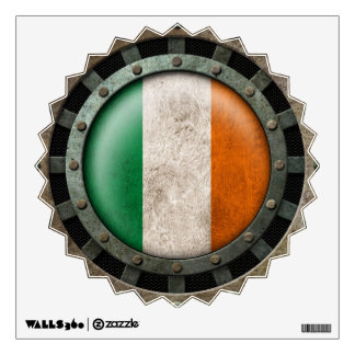 Industrial Steel Irish Flag Disc Graphic Wall Sticker