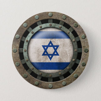 Industrial Steel Israeli Flag Disc Graphic Button