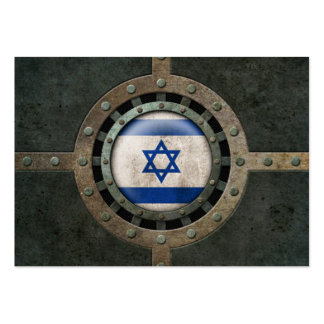 Industrial Steel Israeli Flag Disc Graphic Large Business Card