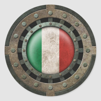 Industrial Steel Italian Flag Disc Graphic Classic Round Sticker