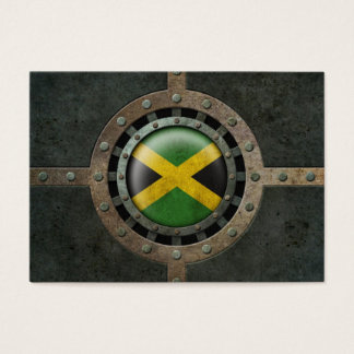 Industrial Steel Jamaican Flag Disc Graphic Business Card