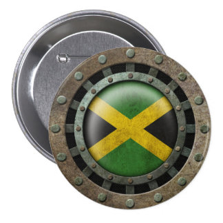 Industrial Steel Jamaican Flag Disc Graphic Button