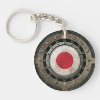 Industrial Steel Japanese Flag Disc Graphic Keychain