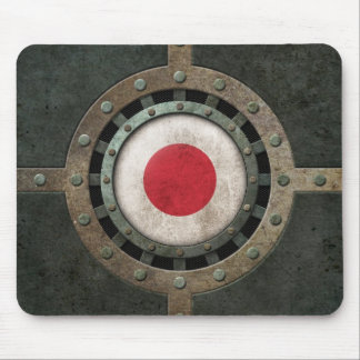 Industrial Steel Japanese Flag Disc Graphic Mouse Pad