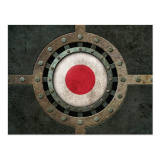 Industrial Steel Japanese Flag Disc Graphic Postcard
