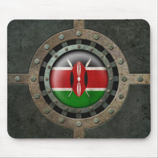 Industrial Steel Kenyan Flag Disc Graphic Mouse Pad