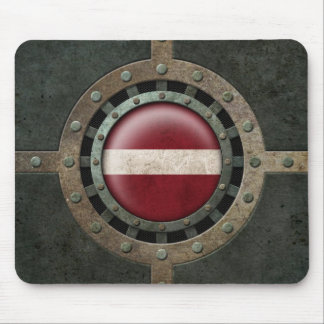 Industrial Steel Latvian Flag Disc Graphic Mouse Pad