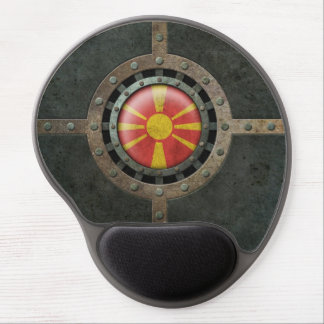 Industrial Steel Macedonian Flag Disc Graphic Gel Mouse Pad