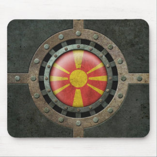 Industrial Steel Macedonian Flag Disc Graphic Mouse Pad