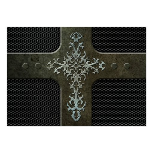Industrial Steel Mesh Gothic Cross Business Card Templates