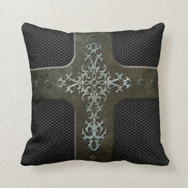 Industrial Steel Mesh Gothic Cross Throw Pillows