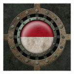 Industrial Steel Monacan Flag Disc Graphic Posters