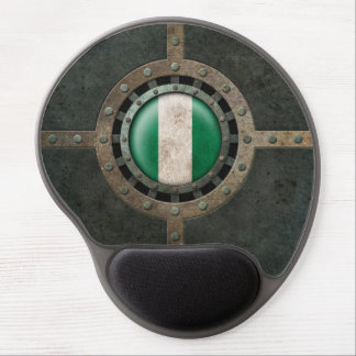 Industrial Steel Nigerian Flag Disc Graphic Gel Mouse Pad
