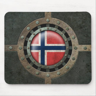 Industrial Steel Norwegian Flag Disc Graphic Mouse Pad