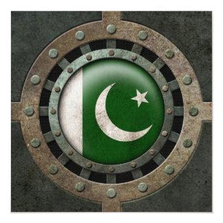 Industrial Steel Pakistani Flag Disc Graphic 5.25x5.25 Square Paper Invitation Card