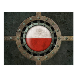 Industrial Steel Polish Flag Disc Graphic Postcard