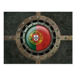 Industrial Steel Portuguese Flag Disc Graphic Postcard
