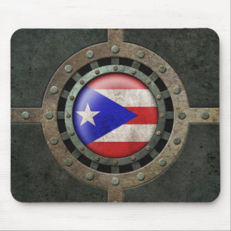 Industrial Steel Puerto Rican Flag Disc Graphic Mouse Pad