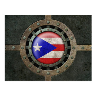 Industrial Steel Puerto Rican Flag Disc Graphic Postcard