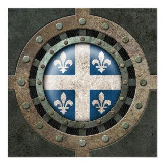 Industrial Steel Quebec Flag Disc Graphic 5.25x5.25 Square Paper Invitation Card