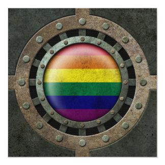 Industrial Steel Rainbow Gay Pride Flag Disc Card