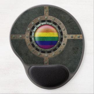 Industrial Steel Rainbow Gay Pride Flag Disc Gel Mouse Pad