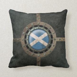 Industrial Steel Scottish Flag Disc Graphic Throw Pillow