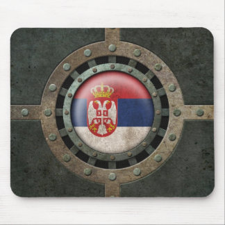 Industrial Steel Serbian Flag Disc Graphic Mouse Pad
