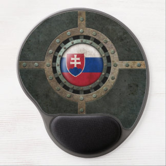 Industrial Steel Slovakian Flag Disc Graphic Gel Mouse Pad